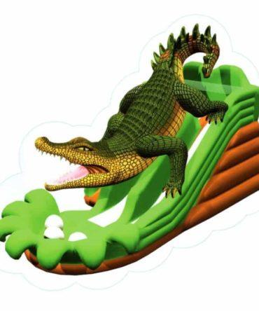 Aligator dual lane inflatable water slide