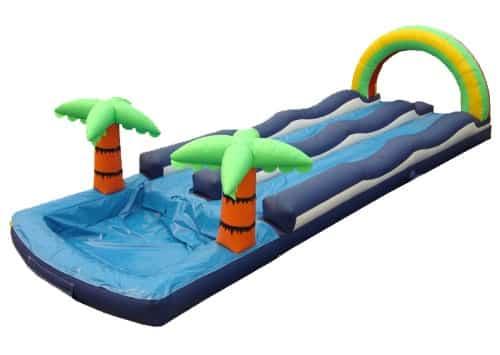 dual lane rain bow slip and slide water slide