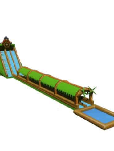 Pirate land inflatable slip and slide slide with pool